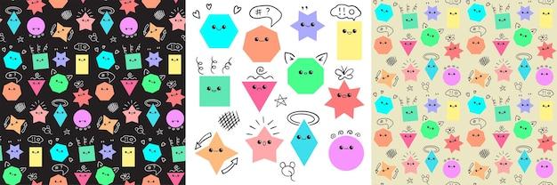 Emoji da set di figure geometriche e modelli senza cuciture con elementi doodle