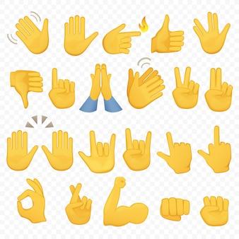 Emoji gesticola icone della mano Vettore Premium