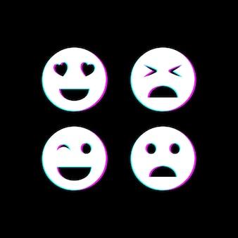 Emoji in set di icone di stile glitch. illustrazione vettoriale. eps 10
