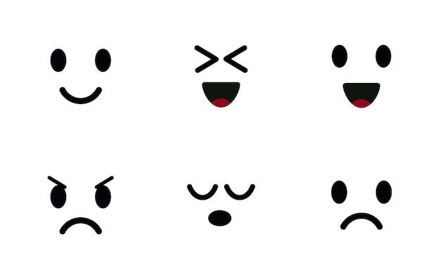 Emoji icon set personaggi volti carino emoticon umore simboli sorridente felice gioiosa triste e arrabbiata