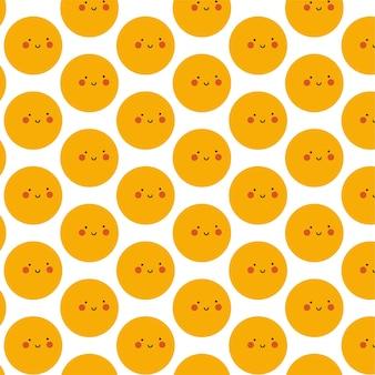 Emoji sfondo modello senza soluzione di continuità con un viso carino