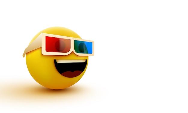 Emoji con occhiali 3d, emoticon che guarda film in 3d, rendering 3d