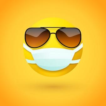 Emoji con occhiali da sole che indossa la maschera per la bocca