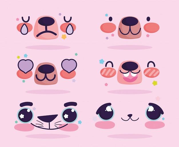 Insieme di facce di espressione dell'orso del fumetto di emoji kawaii