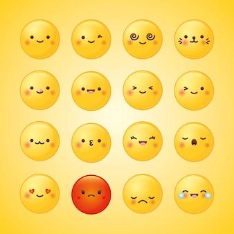 Emoji impostato con sentimenti diversi su sfondo giallo. illustrazione