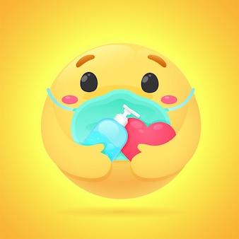 Gli emoji mostrano emozioni ansiose tieni un gel alcolico per lavarti le mani e indossare una maschera