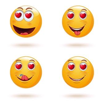 Emoticon viso impostato con cuori invece di occhi. la raccolta di emoticon d'amore. set di emoji gialli per san valentino. illustrazione
