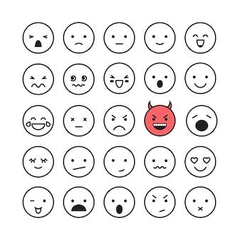 Emoticon faccia sorriso set illustrazione vettoriale isolato su sfondo bianco