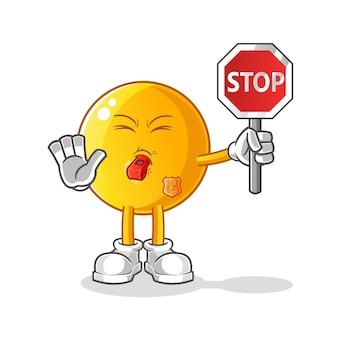 Emoticon che tiene la mascotte del fumetto del fumetto del segnale di stop