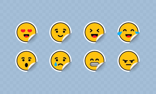 Emoticon sticker icon set illustrazione