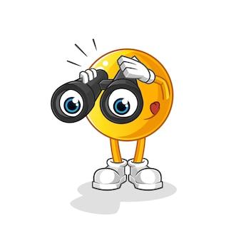 Emoticon con illustrazione del carattere del binocolo