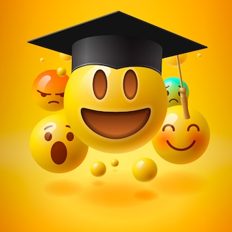 Emoticon in cappello di laurea,