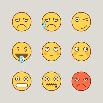 Emoticon pianto triste strizza l'occhio contanti bocca timida arrabbiata per bloccare. adesivi divertenti. segni vettoriali