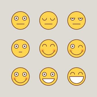 Emoticon sorriso serio. adesivi divertenti. segni vettoriali