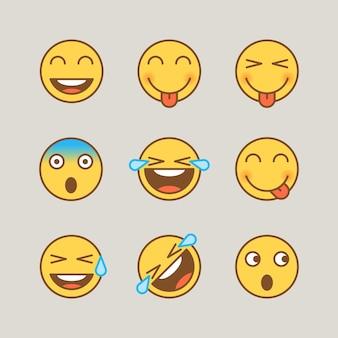 Il sorriso delle emoticon mostra la gioia delle lacrime spaventate dalla lingua. adesivi divertenti. segni vettoriali