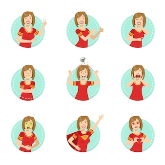 Illustrazione di linguaggio del corpo di emozione messa con la dimostrazione della donna