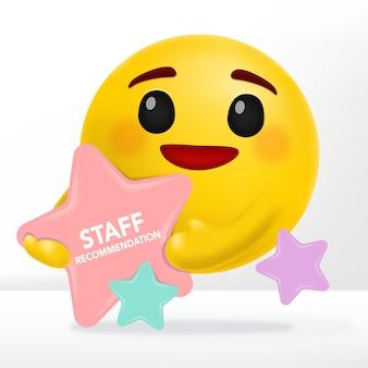 Emotion cartoon con bacheca a forma di stella per annunci di vendita, raccomandazioni o nuovi articoli.