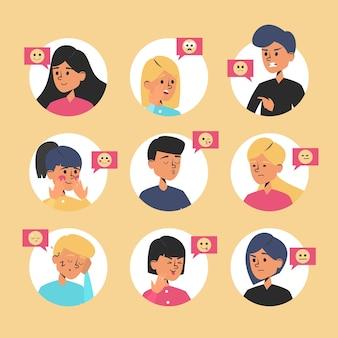 Collezione di espressioni di emozione. volto maschile e femminile, avatar di persona ed emoticon.