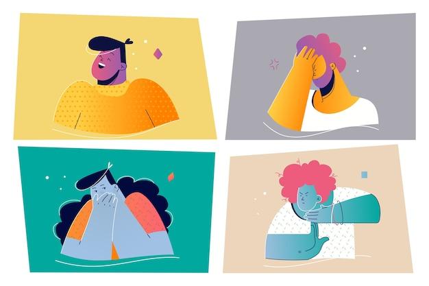 Emozione, concetto stabilito di espressione del viso. illustrazione di persone emotive positive e negative per la stampa