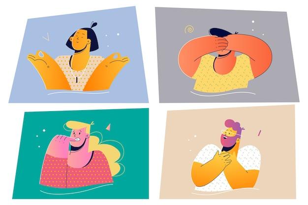 Emozione, concetto stabilito di espressione del viso. illustrazione di vettore di persone emotive positive e negative per