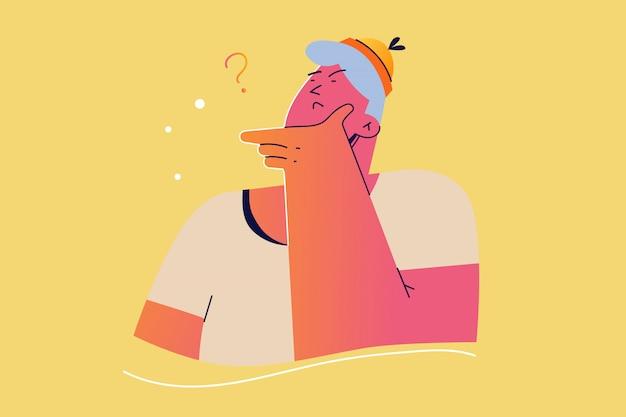 Emozione, viso, espressione, pensiero, guai, concetto di domanda