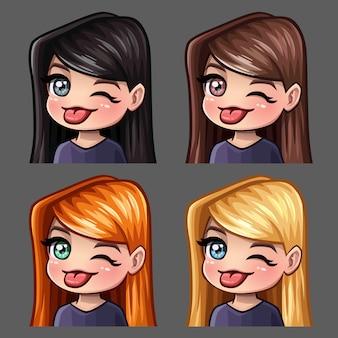 Le icone delle emozioni strizzano l'occhio e mostra la lingua femminile con i capelli lunghi per i social network e gli adesivi