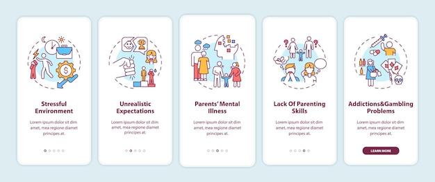 Abuso emotivo da parte dei genitori che accedono alla schermata della pagina dell'app mobile con illustrazione di concetti