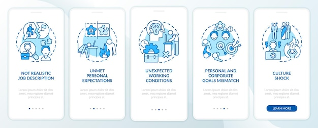 Onere emotivo della schermata della pagina dell'app mobile di onboarding del nuovo lavoratore con concetti. procedura dettagliata per il lavoro di fatica modello di interfaccia utente in 5 passaggi con illustrazioni a colori rgb