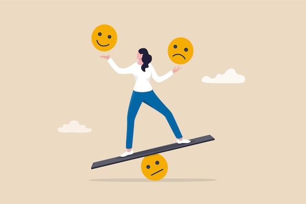Intelligenza emotiva, equilibrio sensazione di controllo delle emozioni tra lavoro stressato o tristezza e concetto di stile di vita felice, donna calma e consapevole che usa la mano per bilanciare sorriso e faccia triste.