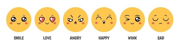 Emozioni. facce emoji dei cartoni animati con sorriso felice, amore, tristezza, rabbia e occhiolino per i social media, chat o feedback dei clienti, set vettoriale. reazioni per i siti di social media