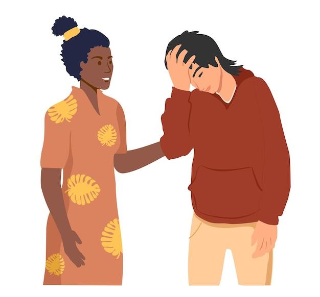 Empatia e compassione concetto donna lenisce ragazzo sconvolto aiutando la mano o la cura psicologica