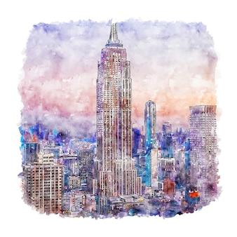 Illustrazione disegnata a mano di schizzo dell'acquerello di new york dell'empire state building