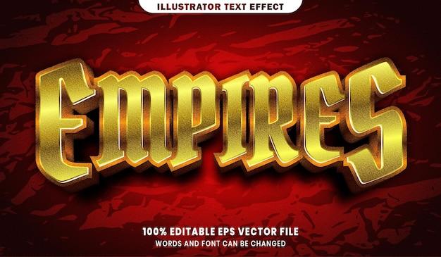 Testo impero, effetto di testo modificabile in stile font oro