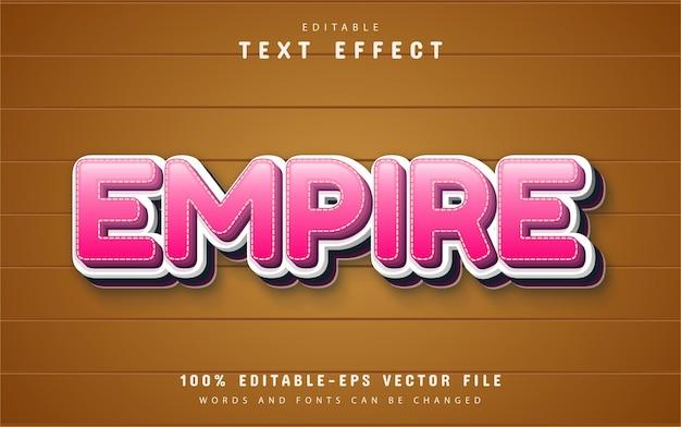 Testo impero, effetto di testo in stile cartone animato rosa