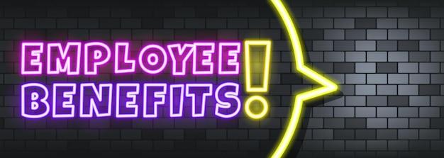 Testo al neon dei benefici per i dipendenti sullo sfondo di pietra. benefici per i dipendenti. per affari, marketing e pubblicità. vettore su sfondo isolato. env 10.