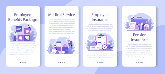 Set di banner per applicazioni mobili pacchetto benefici per i dipendenti