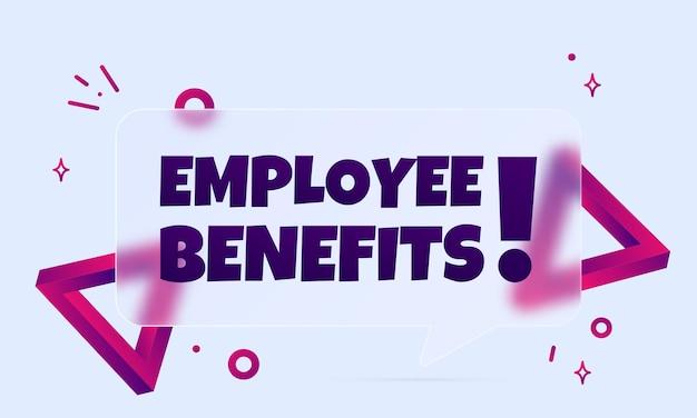 Benefici per i dipendenti. insegna del fumetto con il testo dei benefici per i dipendenti. stile del vetromorfismo. per affari, marketing e pubblicità. vettore su sfondo isolato. env 10.