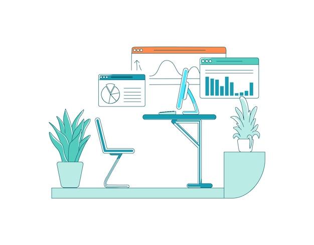 Scena di colore piatto scrivania dei dipendenti. grafico con informazioni. diagrammi con dati. desktop con computer. illustrazione di cartone animato isolato spazio armadio per web design grafico e animazione