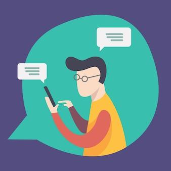 Dipendente sta parlando e chattando in rete. comunicazione, chat, messaggi