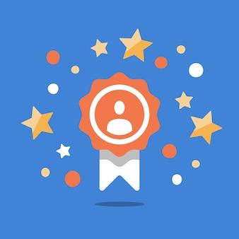Dipendente del mese, premio talento, risultato eccezionale, programma fedeltà, vincitore del primo posto, premio per un buon lavoro, persona di successo