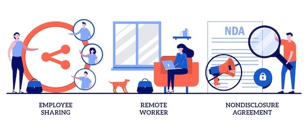 Condivisione dei dipendenti, lavoratore a distanza, accordo di non divulgazione. set di opzioni di lavoro, firma contratto
