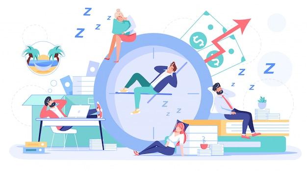 Dipendente che dorme procrastinando sul posto di lavoro