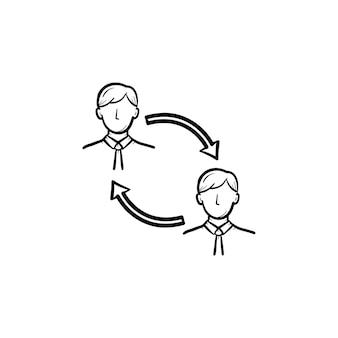 Icona di vettore di doodle di contorno disegnato a mano di turnover del personale dei dipendenti. sostituire il personale nell'illustrazione di schizzo del fatturato aziendale per la stampa, il web, il mobile e l'infografica isolati su sfondo bianco.