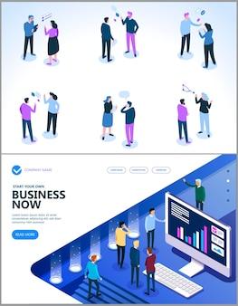 I dipendenti discutono idee di business e discutono sulla situazione finanziaria attuale, sulla pagina di destinazione isometrica e finanziaria