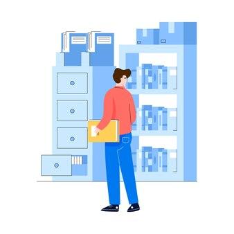 I lavoratori dipendenti sono alla ricerca di documenti nello scaffale