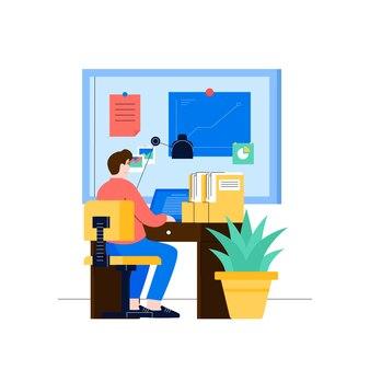 Il lavoratore degli impiegati lavora davanti al computer portatile nell'area di lavoro