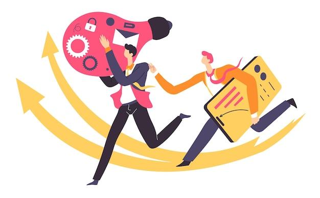 Dipendenti che lavorano in team generando idee per completare con successo il lavoro. brainstorming al lavoro, leader e lavoratore con lampadina elettrica e taccuino per annotare informazioni, vettore in stile piatto