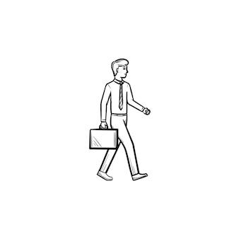 Figura del datore di lavoro con l'icona di vettore di doodle di contorno disegnato a mano valigetta. illustrazione di schizzo di valigetta della tenuta dell'uomo istruito per stampa, web, mobile e infografica isolato su priorità bassa bianca.