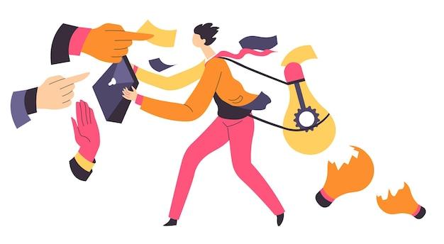 I datori di lavoro che danno compiti al lavoratore che producono idee per la crescita del business. strategie di generazione di personaggi, brainstorming e lavoro in team. realizzazione e risoluzione dei problemi sul lavoro, vettore in stile piatto