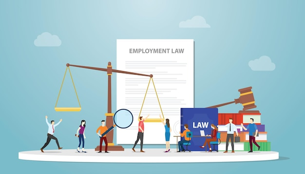 Concetto di diritto del lavoro con scale di carta e martelletto e dipendenti di persone